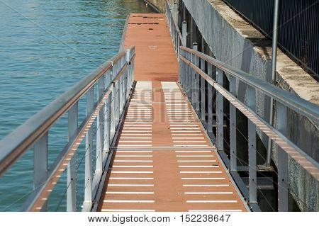 Walkway down to the river pier with Vanishing Point