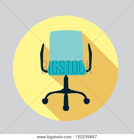 vector flat design icon of a chair Office chair icon Office chair icon long shadow
