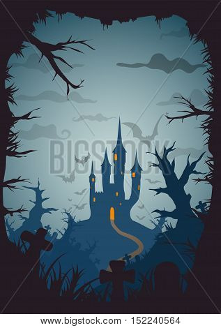 Halloween blue old movie style poster castle at night with full moon vertical a3, a4, a5 format size. Vector background