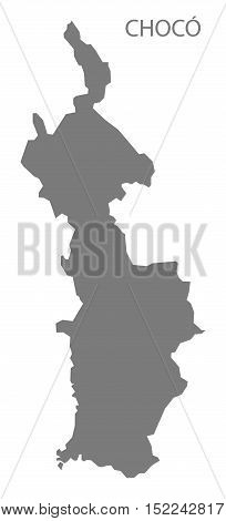 Choco Colombia Map in grey illustration high res