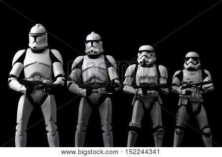 Evolution concept of Star Wars Clone Trooper, Phase II Clone Trooper, Stormtrooper, First Order Stormtrooper - using Hasbro Black Series 6 inch action figures - studio shot