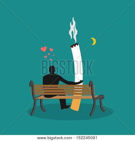 Lover Smoke. Man And Cigarette Looking Moon. Smoker On Bench. Nicotine Lovers Night Sky. Romantic Il