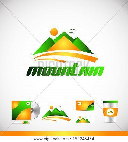 Mountain green orange vector logo icon sign design template corporate identity