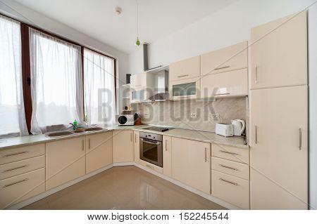 Modern kitchen interior. Interior photography. Home kitchen