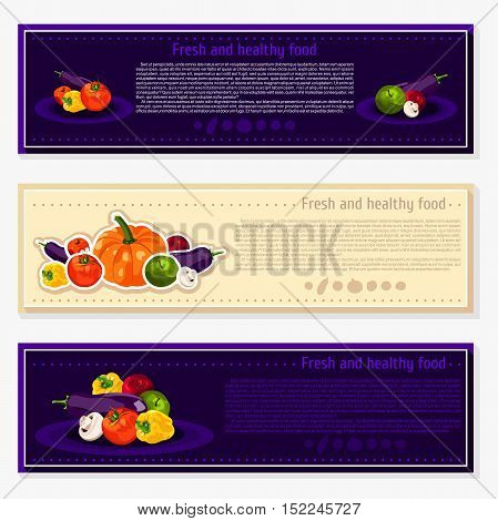 Set of vector backgrounds, banners about healthy eating. Vector vegetables elements for infographics. Isolated vegetables. Fresh and healthy food. Diet. Tomato, yellow pepper, mushroom, pumpkin.