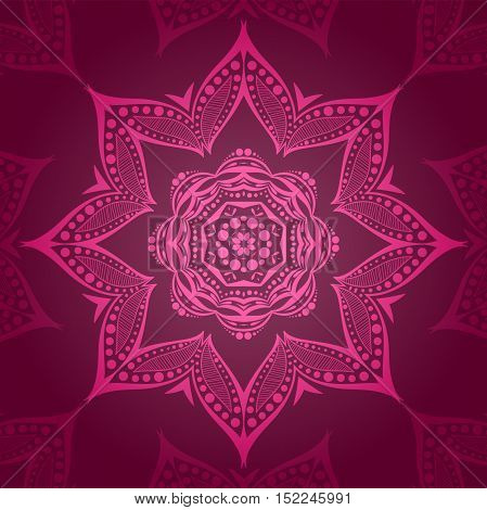 Flower circular background. A stylized drawing. Mandala. Stylized lace ornament. Indian floral ornament. Beautiful ethnic, oriental background for greeting cards, labels. Wine, burgundy color.