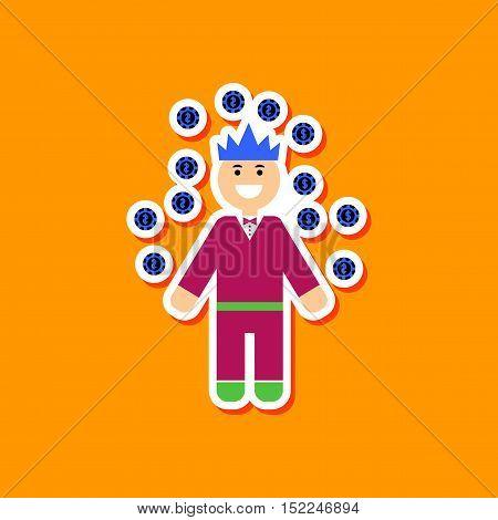 paper sticker on stylish background of man player