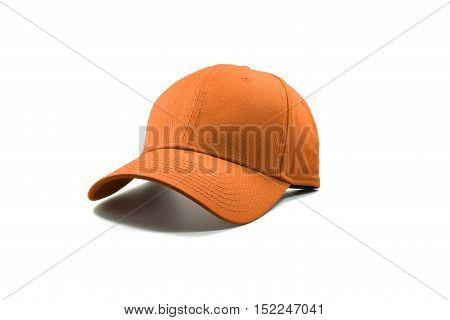 Closeup of the fashion orange color cap isolated on white background.