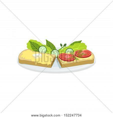 Bruschetta European Cuisine Food Menu Item Detailed Illustration. Cafe Dish In Realistic Design Vector Drawing.