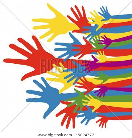 General election voting hands with political party colours.