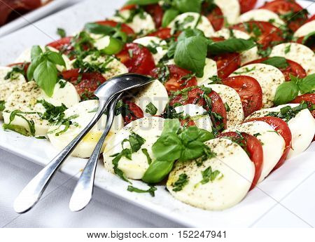 Close-up shot of tomato and mozzarella salad with fresh basil and spoon and fork.