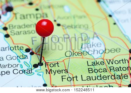 Fort Myers pinned on a map of Florida, USA