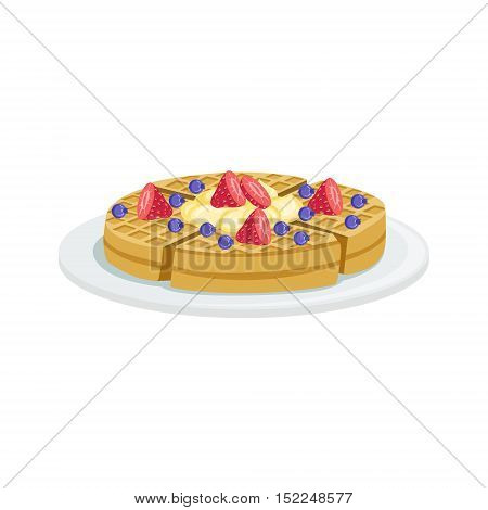 Belgium Waffle European Cuisine Food Menu Item Detailed Illustration. Cafe Dish In Realistic Design Vector Drawing.