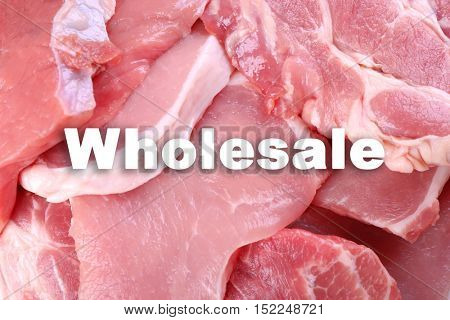 Wholesale concept. Pieces of pork meat, close up