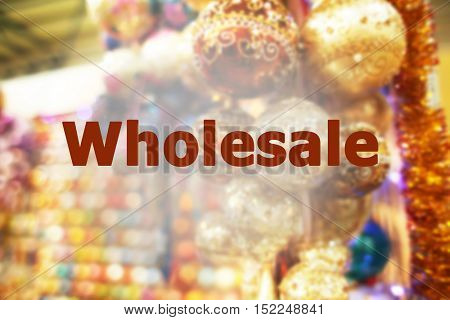 Wholesale concept. Bright Christmas decoration in shopping center