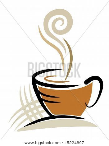 An illustration of coffee cup made with line art poster