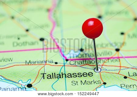Tallahassee pinned on a map of Florida, USA