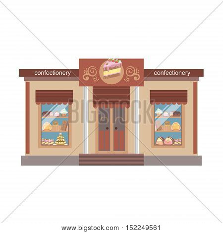 Confectionary Shop Commercial Building Facade Design. Colorful Detailed Icon In Cartoon Simple Style. Flat Vector Illustration Isolated on White Background