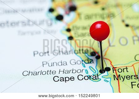 Cape Coral pinned on a map of Florida, USA