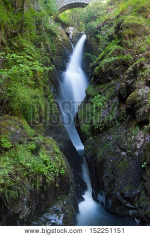 Detail of Aira Force Waterfall near Ullswater in the English Lake District. England. UK.