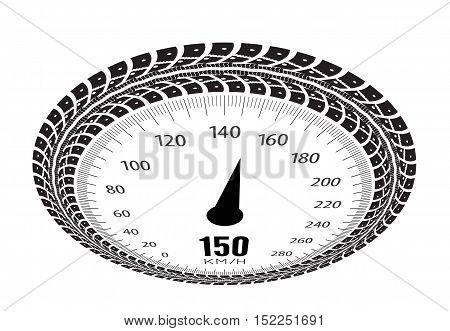 Speedometer vector illustration. Styling by tire tracks. Vector illustration