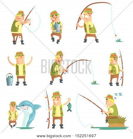 Fisherman In Different Funny Situations Set Of Illustrations. Comic Character In Funky Stylized Design And His Fishing Hobby. Flat Vector Cartoon Illustration On White Background,