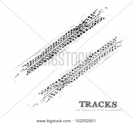 Tire tracks background in black and white style. Vector illustration.