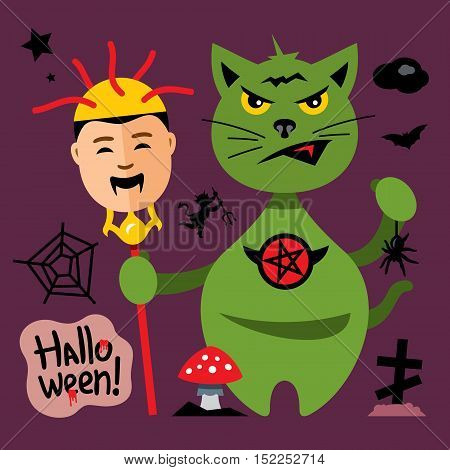 Kitten with trident and a vampire head. Isolated on a color Background