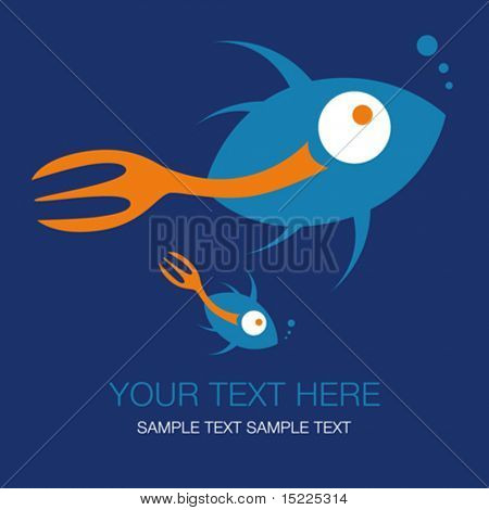 Fork tailed fish design with text space.