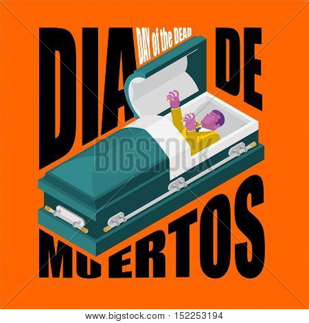 Day Of The Dead. Open Coffin. Departed Zombie In Casket. Mexican Traditional Religious Holiday. Nati
