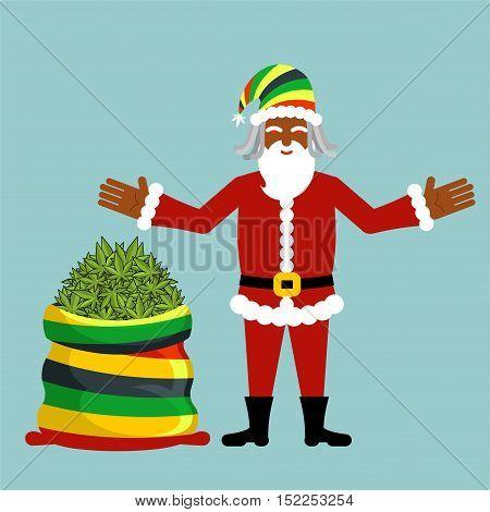 Rasta Santa Claus Wishes. Big Santas Sack Hemp . Bag Of Marijuana. Pile Of Green Cannabis. Smoking D