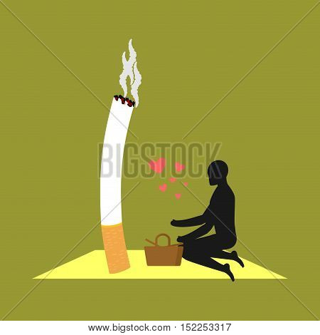 Lover Smoke. Man And Cigarette On Picnic. Smoker In Nature. Nicotine Lovers And Basket With Food. Ro