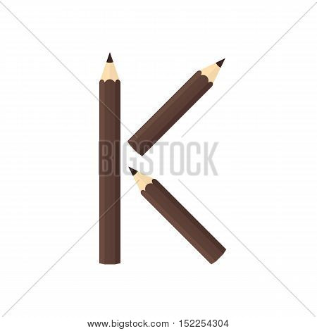 Color Wooden Pencils Concept By Rearrange The Letters K
