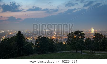 Turin (Torino) panorama from the hills at twilight