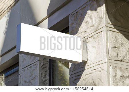 Signboard. Mock up rectangular shape. Oldtown view