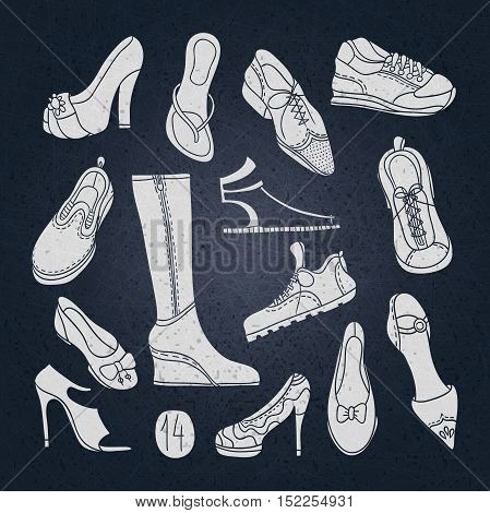Big set of different shoes. Vector illustration. Hand drawing. 14 pairs of shoes. Shoes with high heels. Women's shoes, men's shoes, boots for sports, jogging sneakers. Vintage shoes, boots.