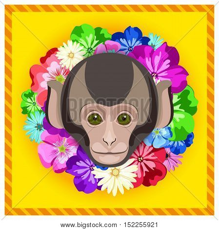 Vector portrait of a monkey among the flowers. Beautiful flower frame, rim. Symmetrical portraits of animals. Vector Illustration, greeting card, poster. Icon. Animal face. Image of a monkey's face.