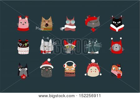 Depicts the faces of cats with Christmas paraphernalia on a dark background.