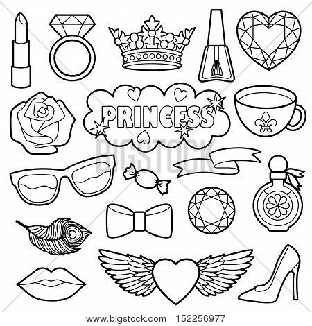 Princess fashion patches. Vector pin badges set. Black and white stickers collection. Appliques for denim or clothes.