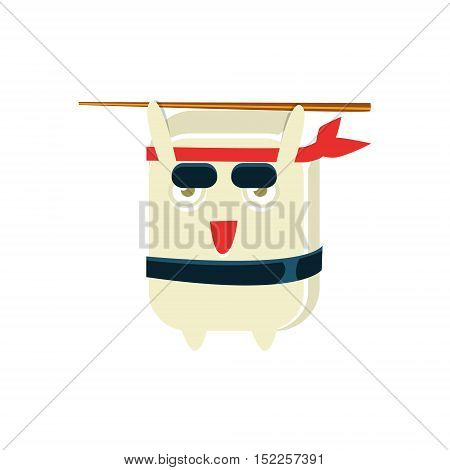 Samurai Training Funny Maki Sushi Character. Silly Childish Drawing Isolated On White Background. Funny Creature Colorful Vector Sticker.