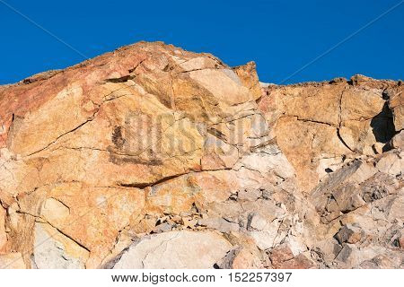 Rocky top of a cove; cliffy wall with cracks