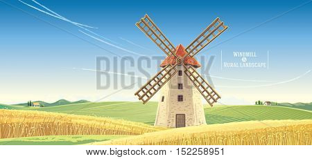 Rural landscape with windmill, vector illustration.