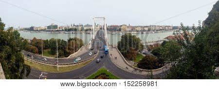 Bridge over the Danube in Budapest. Erzsébet Bridge is named in honor of the Empress Elizabeth and connects Buda and Pest. View from Mount Gallert.