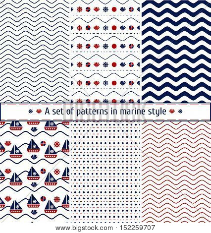 Set of seamless patterns with a maritime theme. Ship and sail, sea shell, bead, leather, sea waves. Blue and red colors. The pattern of sea shells and waves. Sea symbols and signs. Marine background.