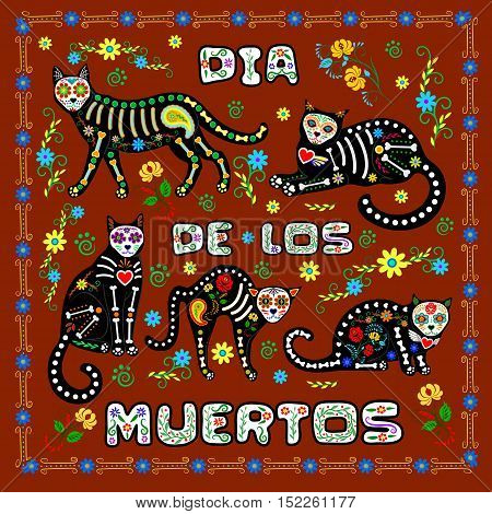 Brown background with calavera cats and sugar skills for Day of the Dead, Dia de los Muertos