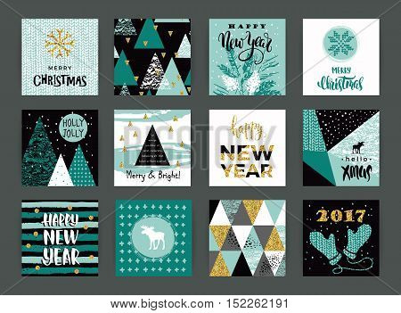 Set of artistic creative Merry Christmas and New Year cards. Hand Drawn textures and brush lettering. Design for poster card invitation placard brochure flyer. Vector templates.
