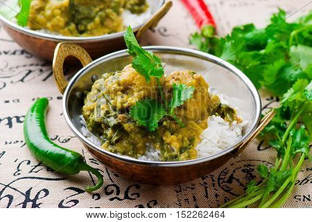 Chicken and Spinach Curry with rice. Indian cuisine selective focus.