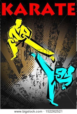 Martial arts. Karate fighters high kick logo silhouette poster. Vector. EPS