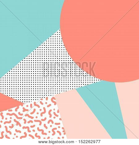 Vector Pattern With Geometric Elements In The Style Of 80's. Memphis Design. Retro Background. Perfe
