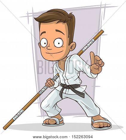 A vector illustration of Cartoon young karate boy in white kimono
